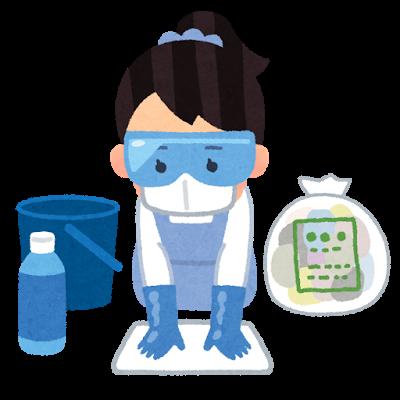 嘔吐物の処理は次亜塩素酸